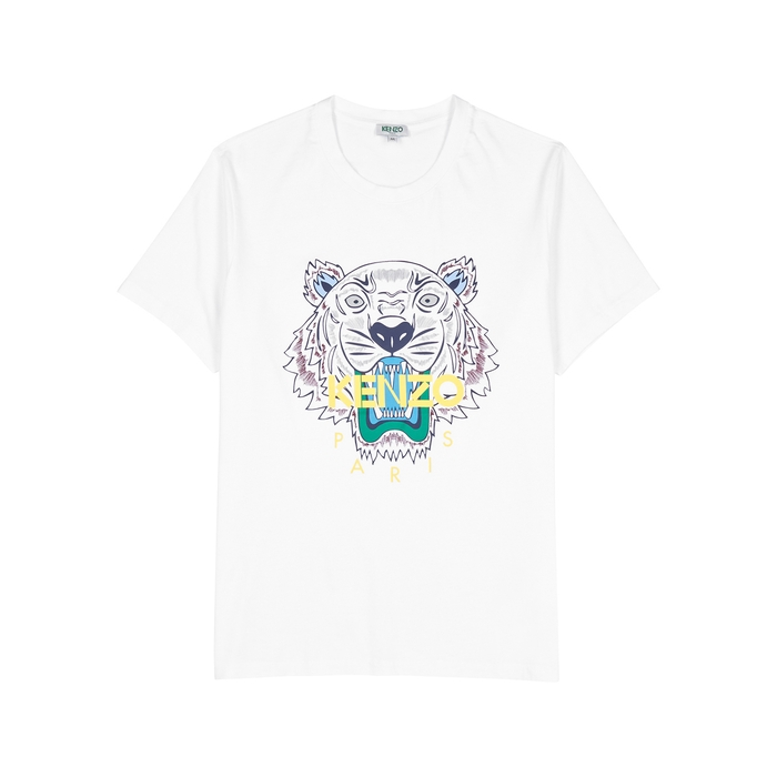 Kenzo Cottons ICON WHITE TIGER-PRINT COTTON T-SHIRT