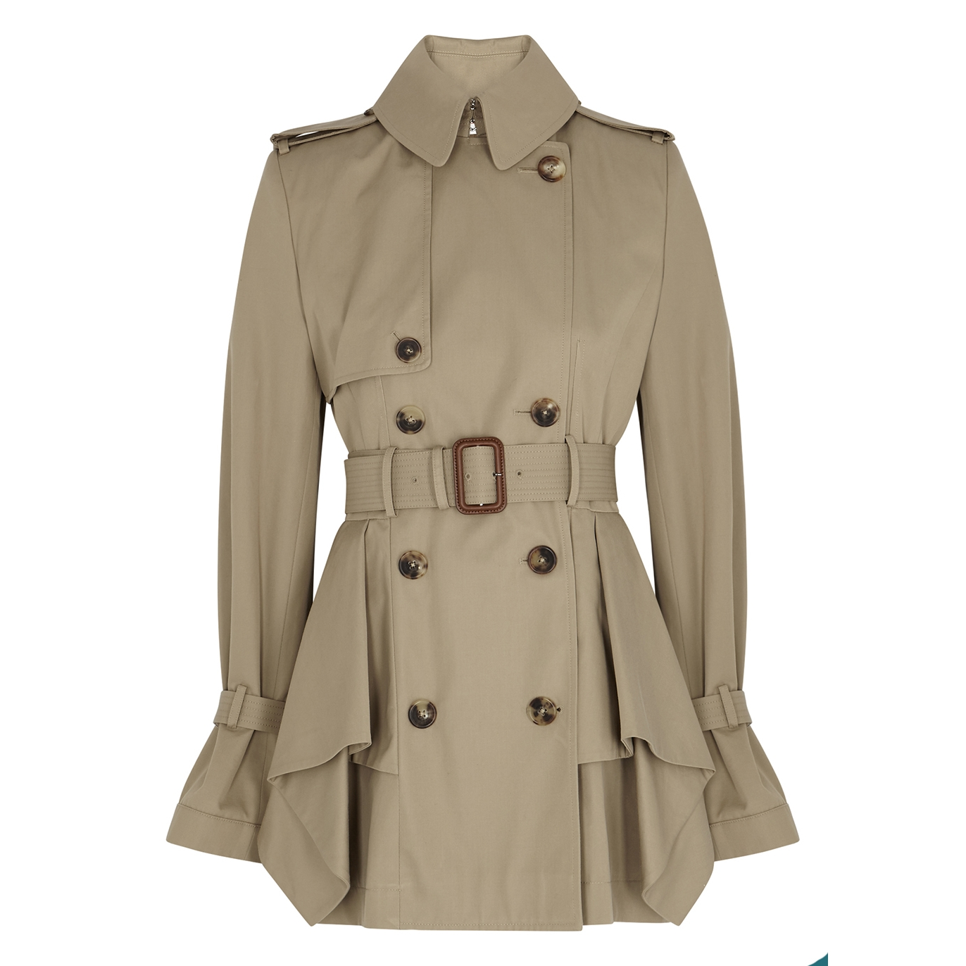 exceptional range of styles fashion style of 2019 baby Sand peplum cotton-twill trench coat