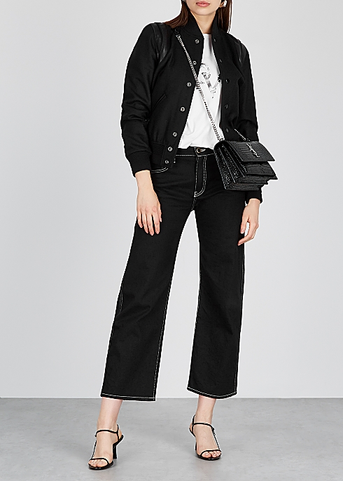 c66ed9642 Saint Laurent Teddy leather-trimmed wool-blend jacket - Harvey Nichols