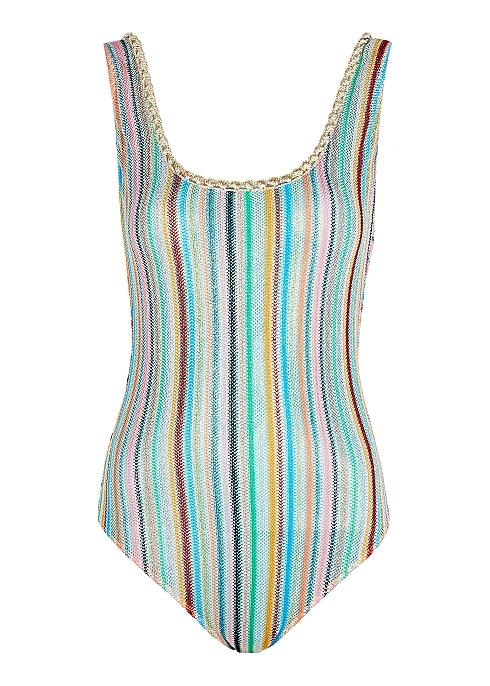 952cfe8b999095 Missoni Mare Striped metallic-knit swimsuit - Harvey Nichols