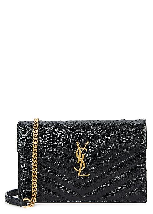 43e4a7cdc33 Saint Laurent Black logo leather wallet-on-chain - Harvey Nichols