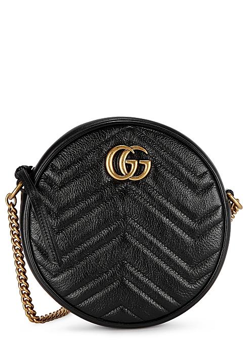 bb0a945101 Gucci GG Marmont black leather shoulder bag - Harvey Nichols