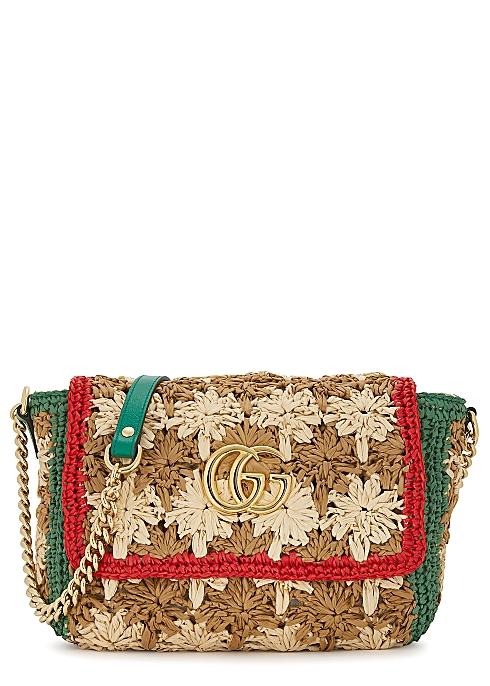 cf4a6233a Gucci GG Marmont raffia shoulder bag - Harvey Nichols