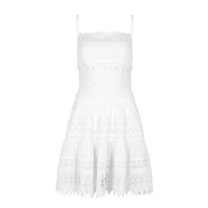 Charo Ruiz Joya lace-panelled cotton-blend mini dress