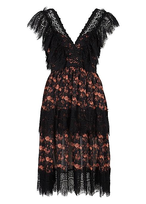 4f695ece63b94 Charo Ruiz Bea floral-print lace-trimmed midi dress - Harvey Nichols