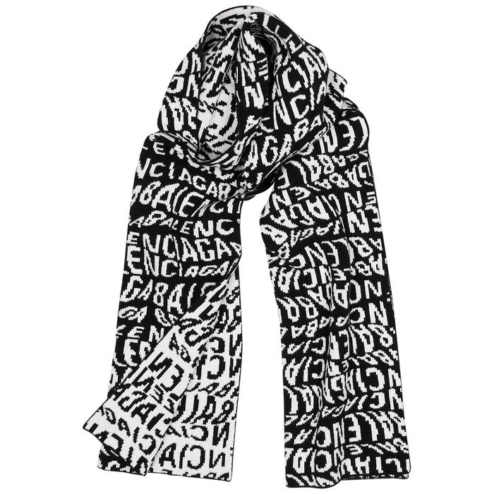 Balenciaga Monochrome Intarsia Wool-blend Scarf