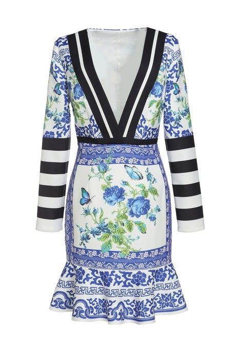 COMINO COUTURE | Comino Couture Blue Grecian Floral Tile Deep V Plunge Peplum Dress | Goxip