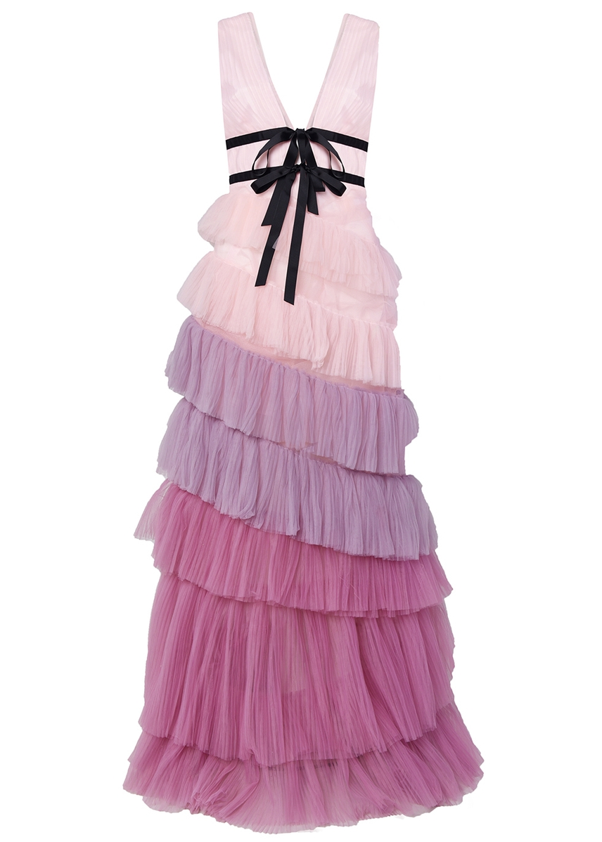 d927b6aba1f Lilac ombre tiered tulle maxi dress ...