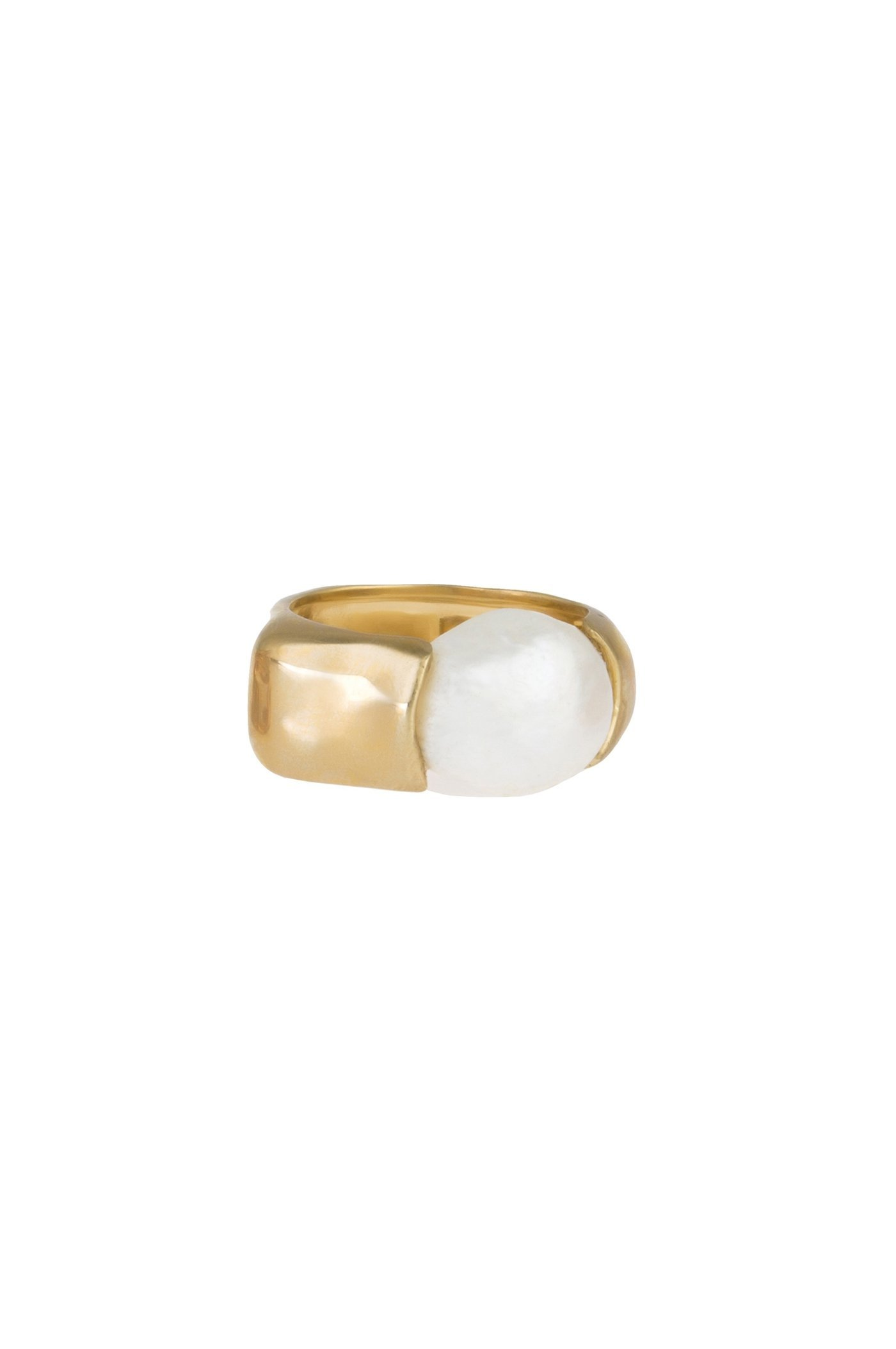 JOANNA LAURA CONSTANTINE   Joanna Laura Constantine Feminine Waves Ring With Cultured Pearl   Goxip