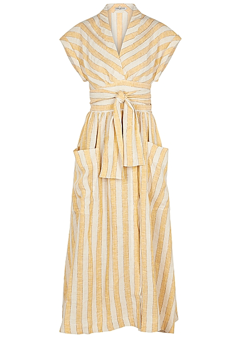 402d471be9 Three Graces Clarissa striped linen-blend wrap dress - Harvey Nichols