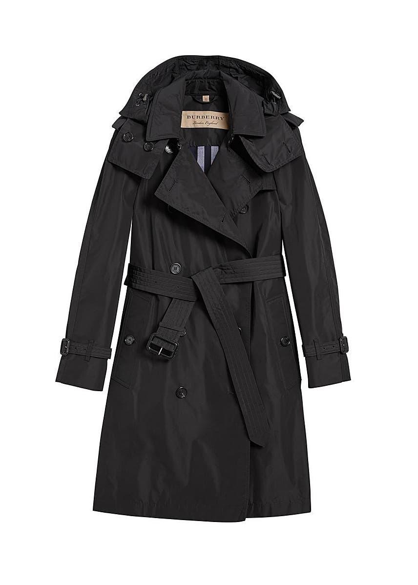 c640ab0fa8998d Detachable hood taffeta trench coat ...
