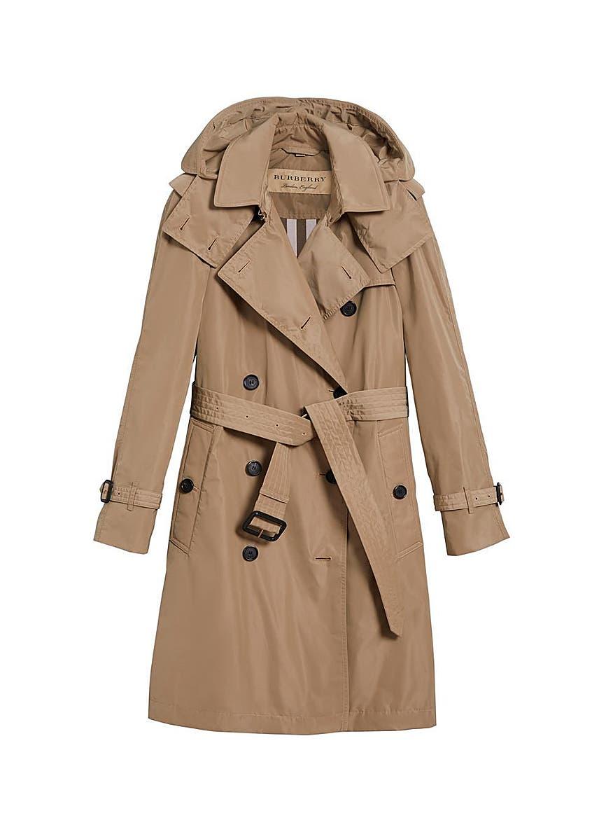 Detachable hood taffeta trench coat detachable hood taffeta trench coat burberry