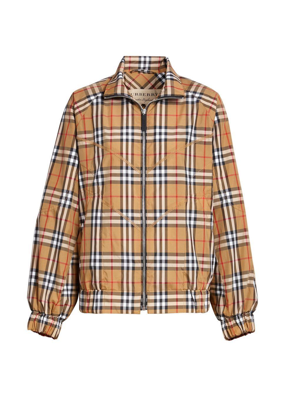 BURBERRY   Burberry Topstitch Detail Vintage Check Harrington Jacket   Goxip