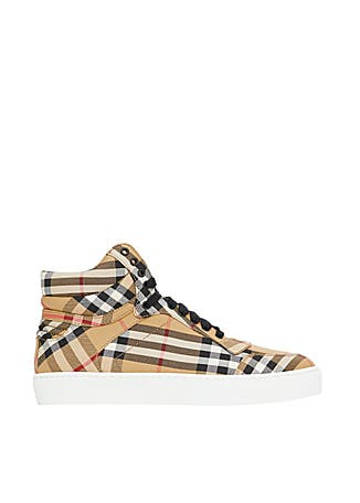 6b96495b7 Vintage check cotton high-top sneakers ...