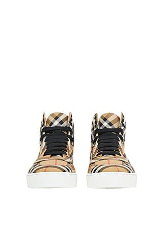 62898b00b ... Vintage check cotton high-top sneakers. New In. Burberry