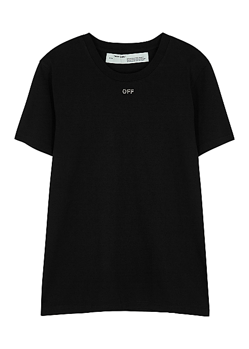 8c4b12d6c011 Off-White Black crystal-embellished cotton T-shirt - Harvey Nichols