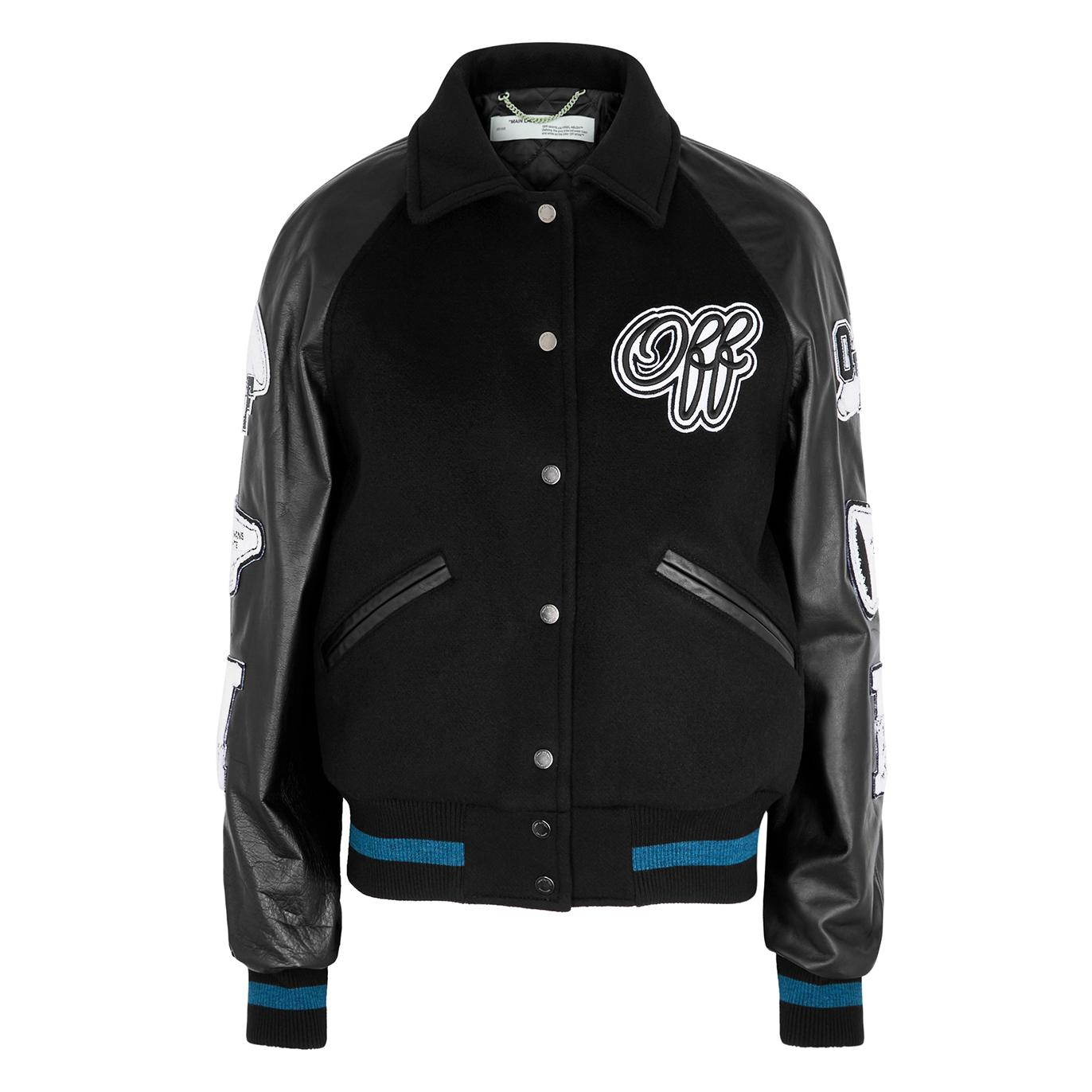 3cd6c122c Appliquéd wool-blend and leather bomber jacket