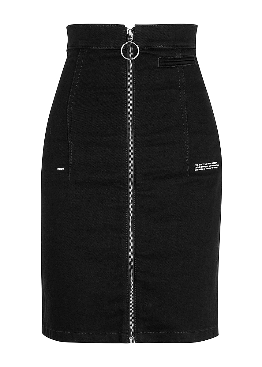 f4c213b21 Black stretch-denim skirt Black stretch-denim skirt. New Season. Off-White