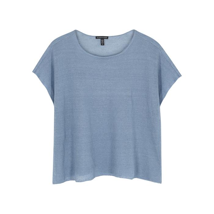 Eileen Fisher Blue Fine-Knit Linen-Blend Top