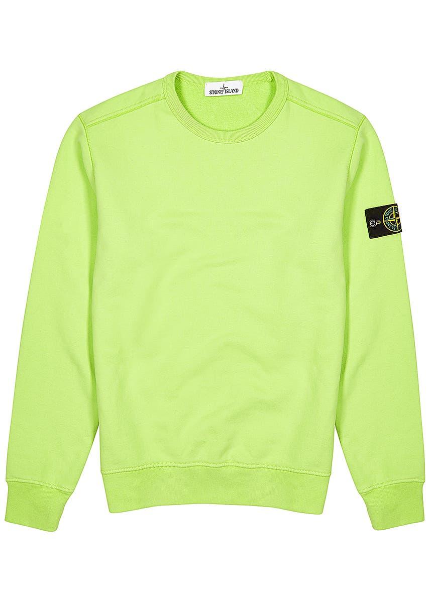 c183da6ee Stone Island. Black brushed cotton overshirt. £295.00 · Lime cotton  sweatshirt Lime cotton sweatshirt