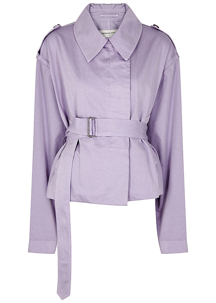 84c62274d9 Dries Van Noten. Calberta printed silk wrap dress. £1,060.00 · Verse lilac  belted cotton jacket ...