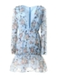 Light blue floral deep v plunge tiered dress - Comino Couture
