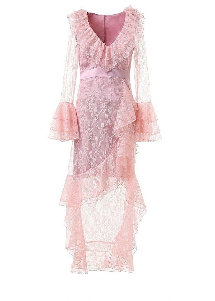 546f8fd1fbf Baby pink sheer lace ruffle maxi dress Baby pink sheer lace ruffle maxi  dress. Comino Couture