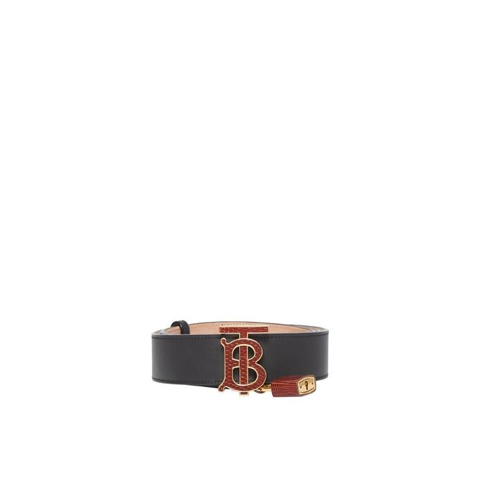 Burberry Padlock Detail Monogram Motif Leather Belt