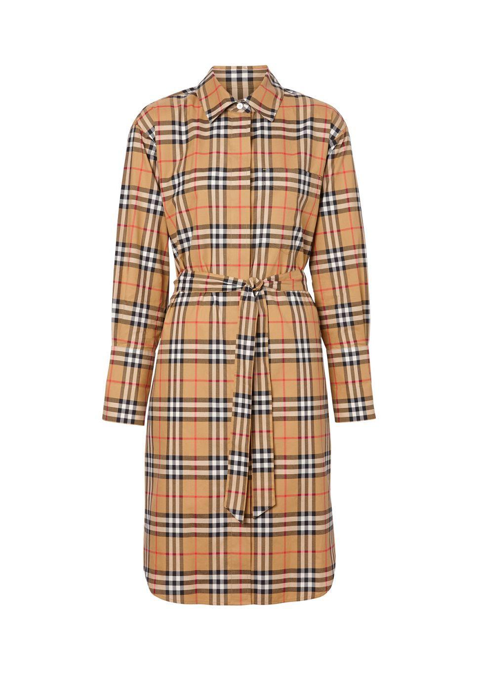 BURBERRY   Burberry Vintage Check Cotton Tie-Waist Shirt Dress   Goxip