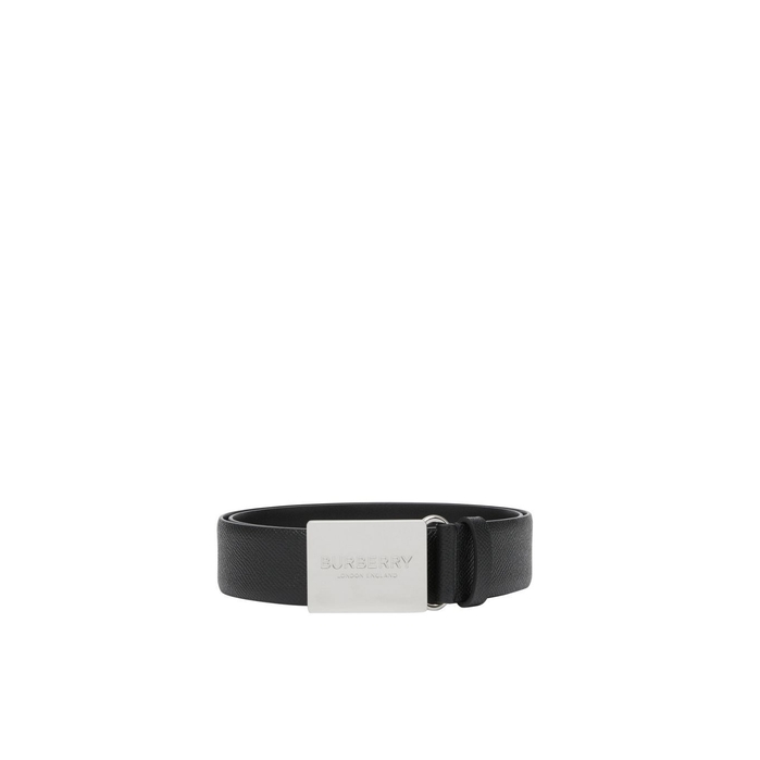 Burberry Plaque Buckle Grainy Leather Belt