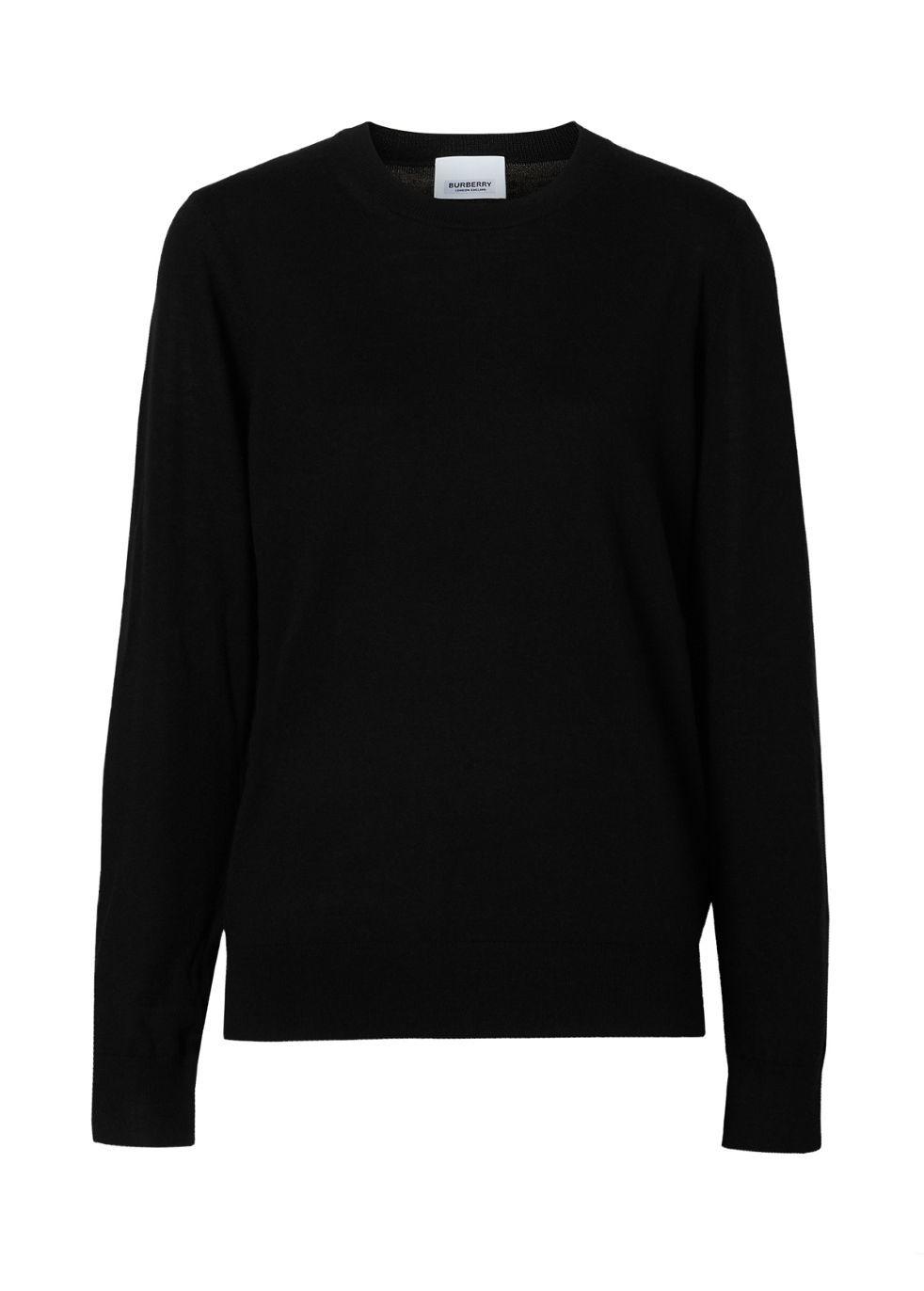 BURBERRY   Burberry Vintage Check Detail Merino Wool Sweater   Goxip