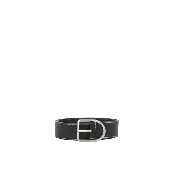 Burberry Topstitch Detail Leather Belt