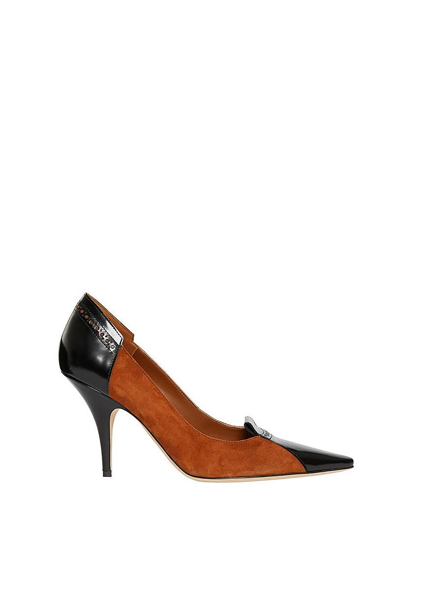 64afcd689 Brogue detail two-tone suede and leather pumps Brogue detail two-tone suede  and leather pumps. Burberry