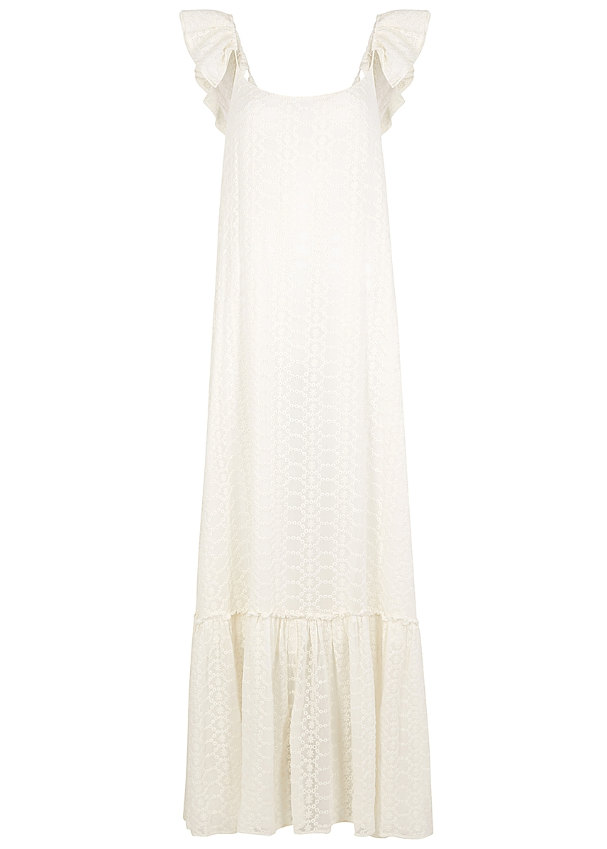 bc4c9d84a97c Mimi off- white floral embroidery maxi dress ...