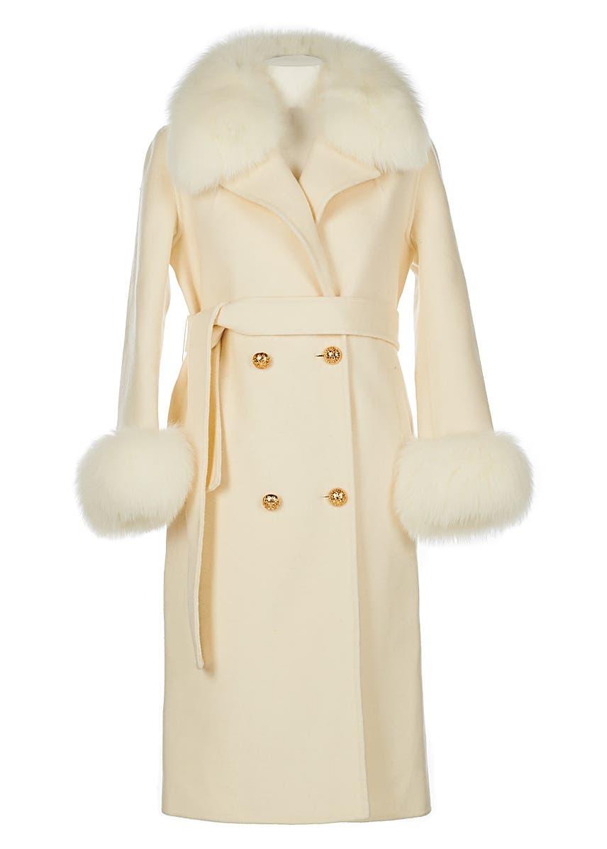 01d772c5499e Cream cashmere fox trim coat Cream cashmere fox trim coat. Popski London