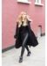 Black cashmere faux fur trim coat - Popski London