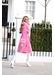 Hot pink cashmere fox trim coat - Popski London