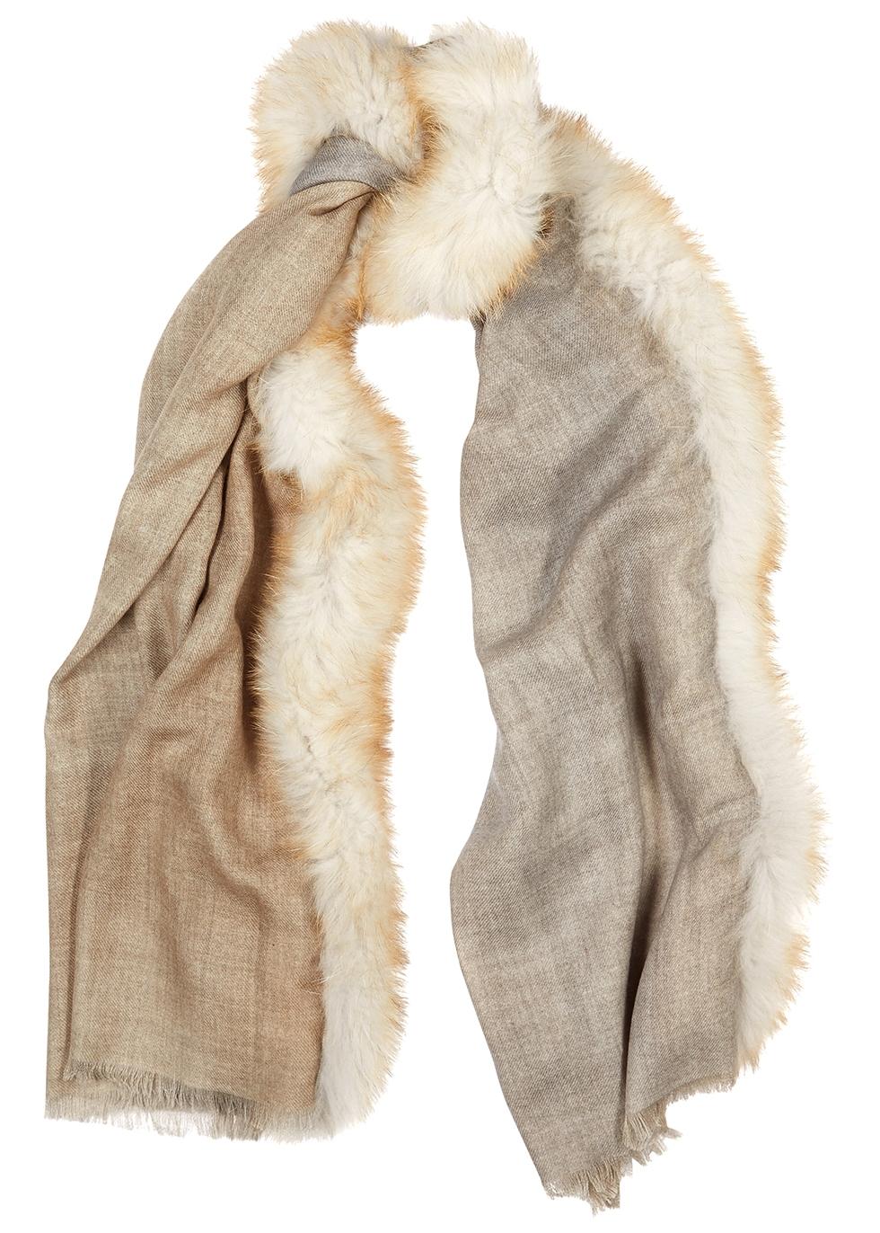 Sand fur-trimmed wool scarf