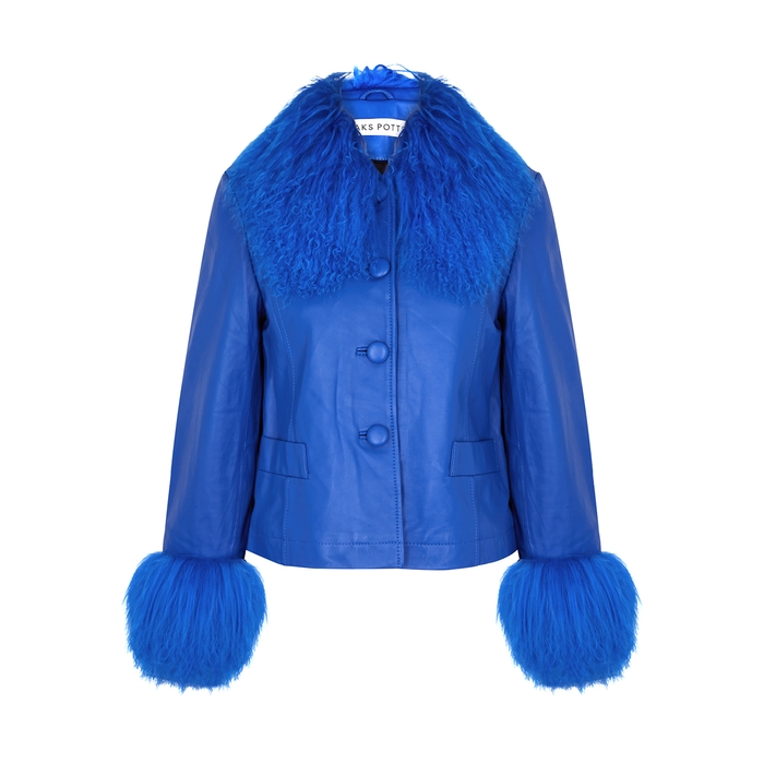 Saks Potts DORTHE BLUE SHEARLING-TRIMMED LEATHER JACKET
