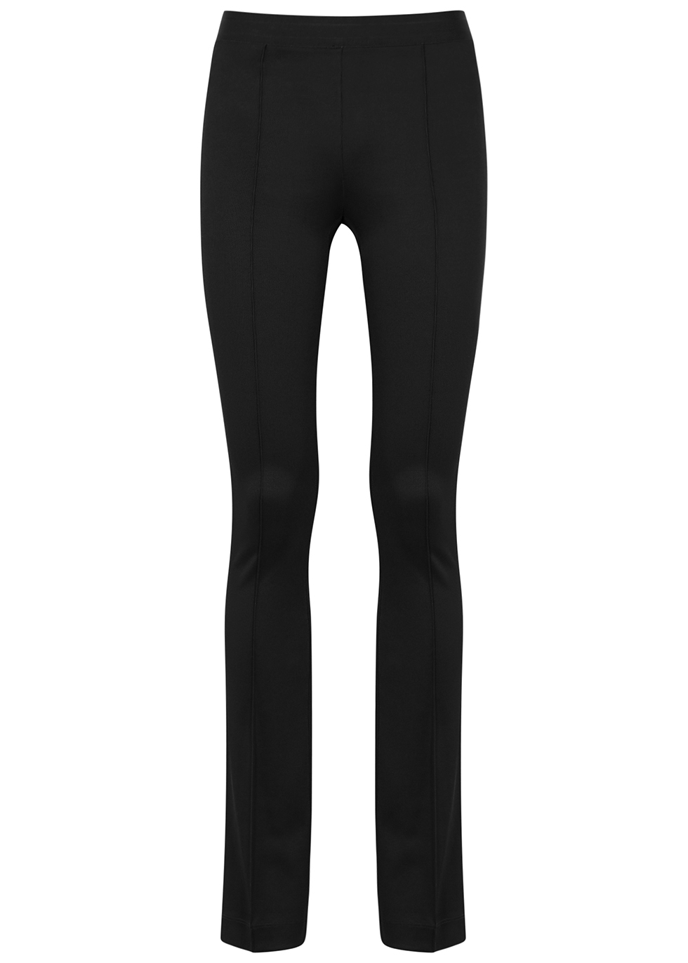 Black flared stretch-jersey leggings