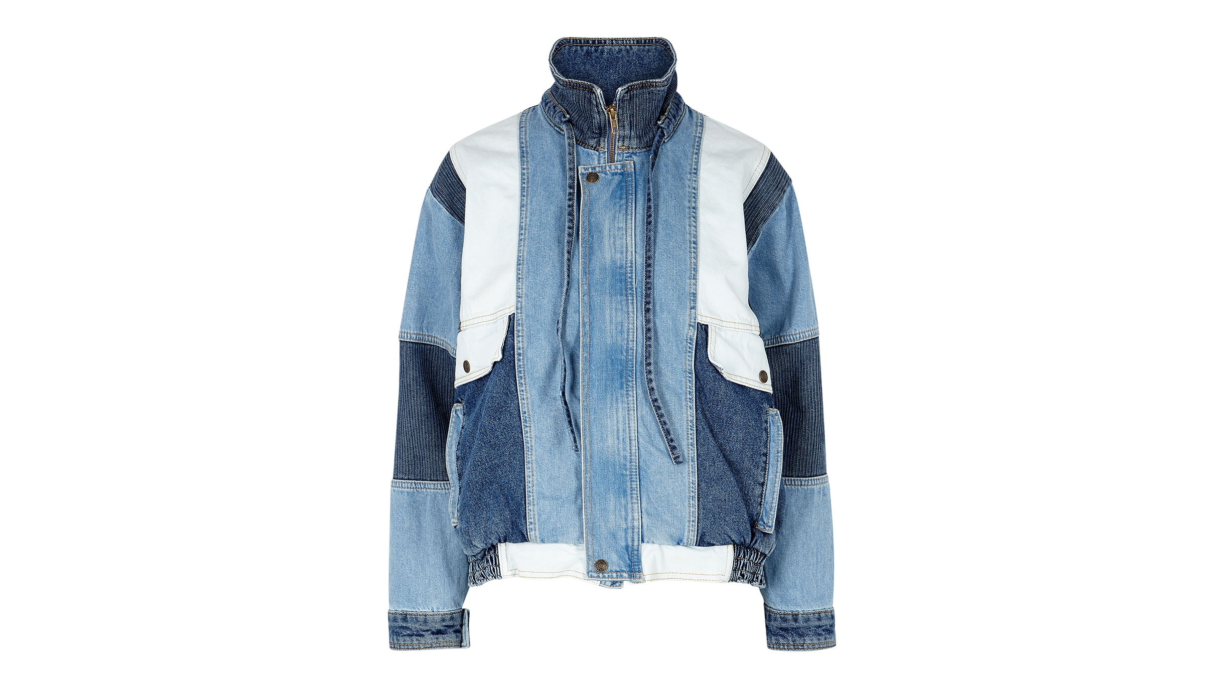 bfc37a790 Panel patchwork denim bomber jacket