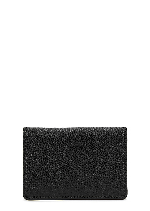 93d7c95b3f782 Kelly large black grained leather card wallet