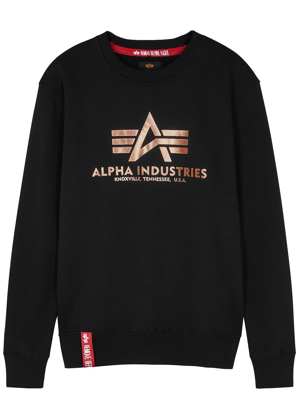Black logo jersey sweatshirt