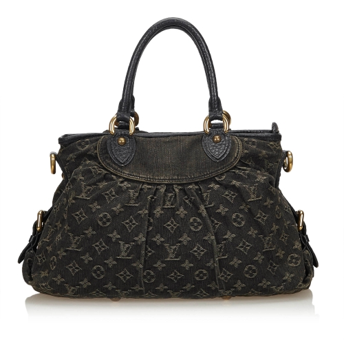 Louis Vuitton Black Satchel In Gray