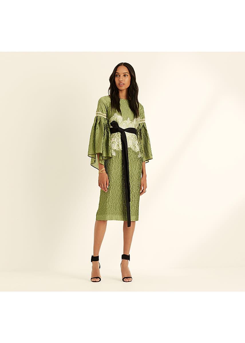 be540a7003fe Cloque jacquard statement sleeve cardamom dress ...