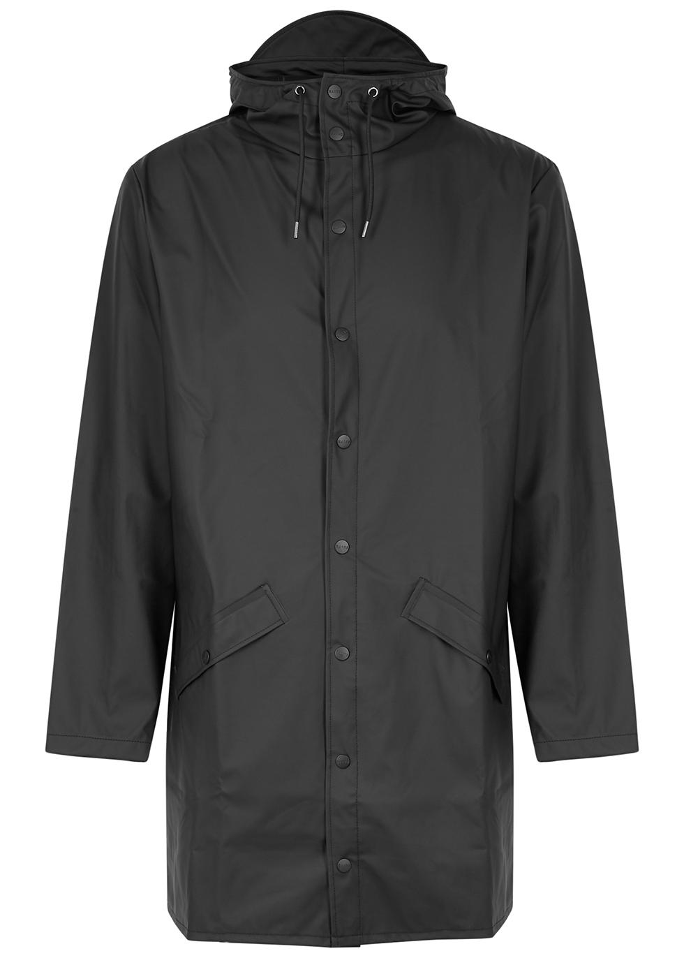 Matte black rubberised raincoat