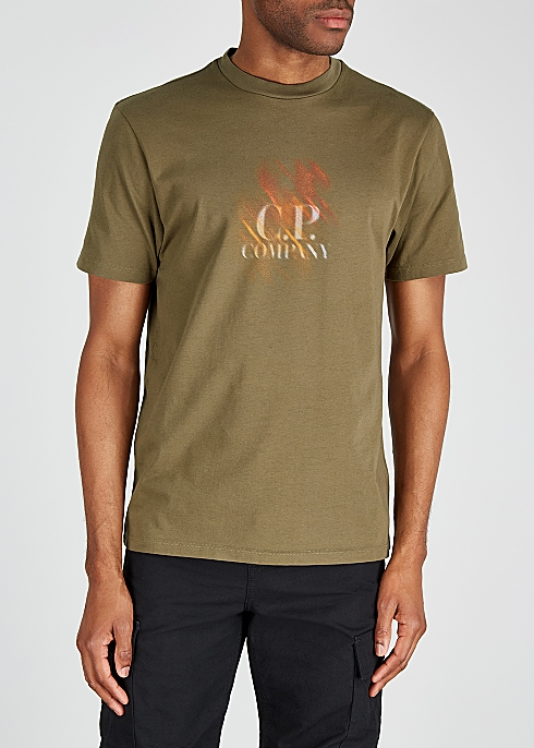 929f7946 Army green logo-print cotton T-shirt