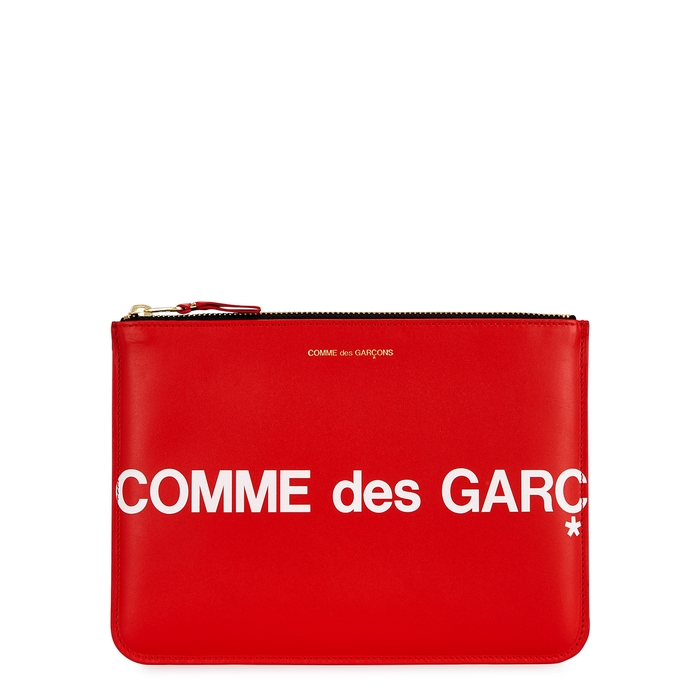 Comme Des GarÇOns Medium Red Leather Pouch
