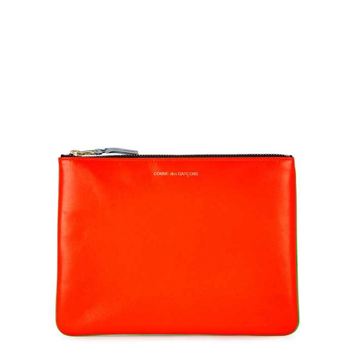 Comme Des GarÇOns Medium Neon Green And Orange Leather Pouch In Green And Other