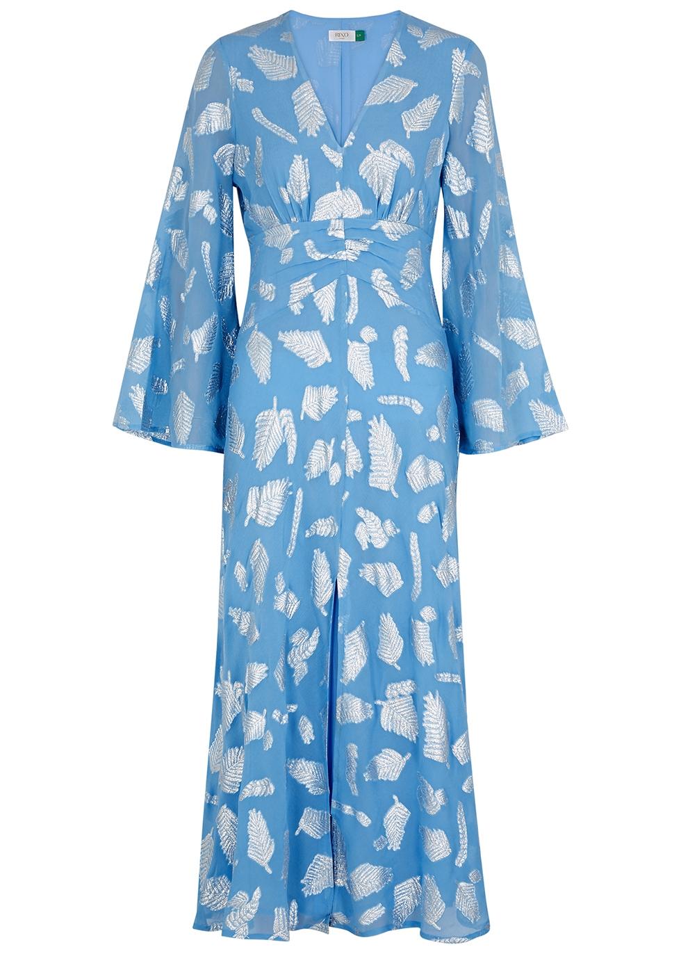 Indra leaf-jacquard georgette midi dress